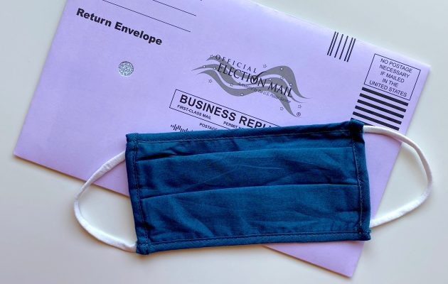 Absentee ballot with mask