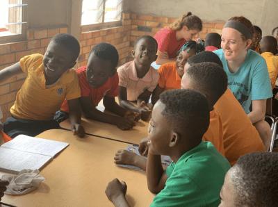 Conroy in 6th grade classroom in Ghana