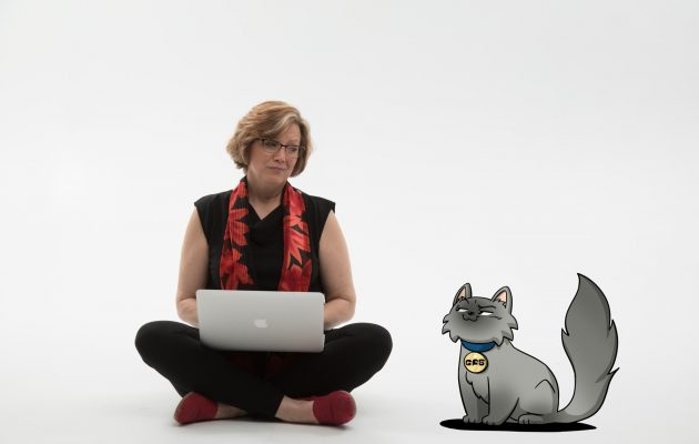 """This is one of me (Liz) and a character from my books, Hubble the cat, from Geeky F@b Five graphic novel series I co-author with My 14-year old daughter. It's a series that focuses on girls and STEM and how they can use their talents to make a difference."""